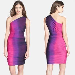Halston Heritage Ombre One-Shoulder Sheath Dress